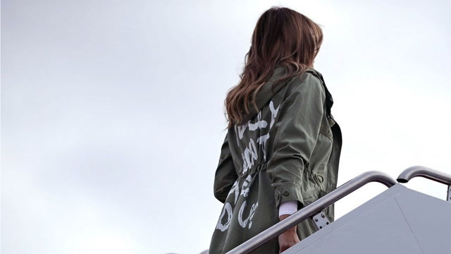 First lady Melania Trump wears controversial jacket