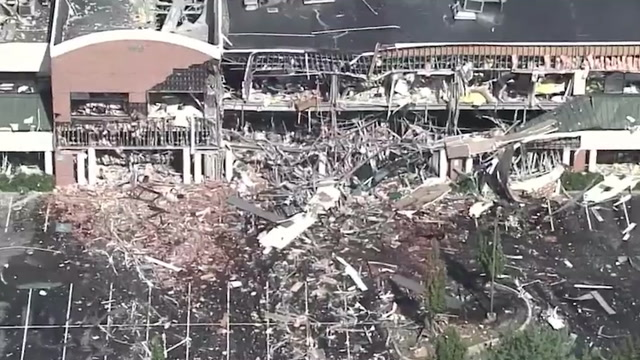 Aerial view shows destruction of Maryland building following explosion