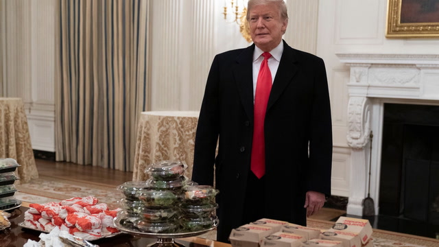 'All American stuff': Trump serves fast-food meal for Clemson's White House visit