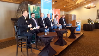 The Eggs & Issues panel featured state Rep. Josh Heintzeman, R-Nisswa (left, state Senate Majority Leader Paul Gazelka, R-Nisswa, state Rep. John Poston, R-Lake Shore, state Sen. Carrie Ruud, R-Breezy Point and state Rep. Dale Lueck, R-Aitkin. Gabriel Lagarde / Brainerd Dispatch