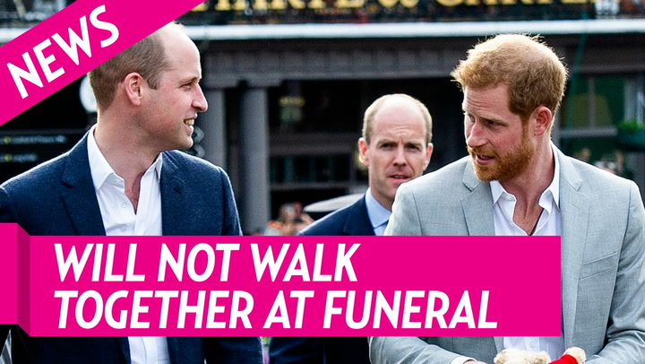 Prince William and Prince Harry Will Not Walk Next to Each Other at Prince Philip's Funeral