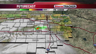 Slightly humid, isolated storms tonight