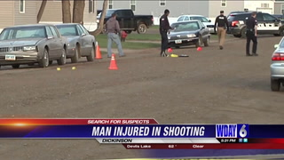 Dickinson Police looking for suspects after a man was shot in his mobile home