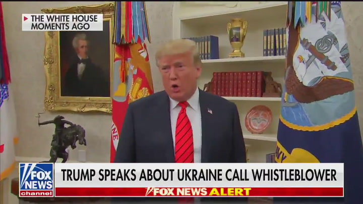 """Trump: """"We're trying to find out"""" identity of whistleblower"""