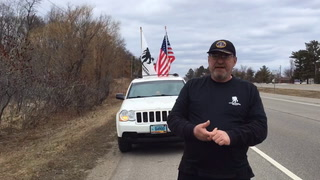 Jerry Meadows (left) stops to have his photograph taken with Morrison County Sheriff Shawn Larsen. The 61-year-old Air Force veteran from Wahpeton, N.D., arrived Friday, April 5, in St. Cloud after leaving on foot March 14 from Bemidji to raise money and awareness for the Wounded Warrior Project. Submitted photo