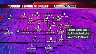 Chance of snow, warmer by morning