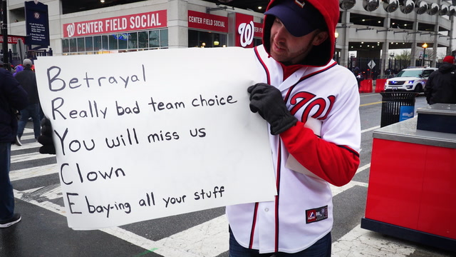 'Sellout, turncoat, clown.'  Nats fans have a message for Bryce Harper.