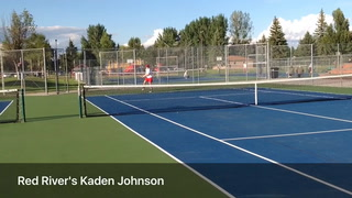Red River's Gary Wu serves the ball to Red River during a doubles game in Grand Forks. (Joshua Komer/Grand Forks Herald)