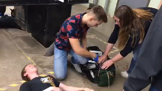 MAHS EMTs in training drill at the high school