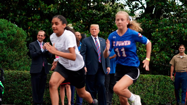 Trump speaks at White House fitness event