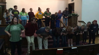 """The cast of the Christmas play """"Believe"""" practices a singing scene during practice last week at the First Congregational United Church of Christ in Wadena. Michael Johnson/Pioneer Journal"""