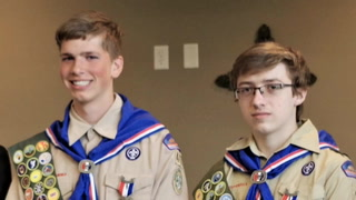 Micah Aanerud (left) and Alexander Walcott received their Eagle Scout rank in a ceremony held Sunday, May 19 at the Morris Evangelical Free Church in Morris.   Sue Dieter/Stevens County Times.