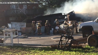 A garage on Hazel Hill Road in Alexandria caught fire this afternoon. (Beth Leipholtz | Echo Press)