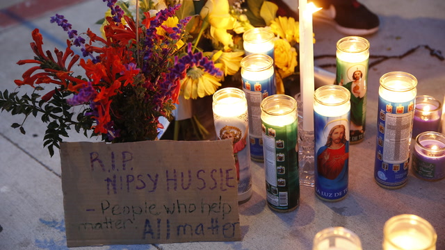 Fans gather at makeshift vigil for slain rapper Nipsey Hussle