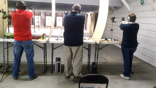 Bev Collings of Grand Forks competes March 3, 2017 with her husband, Mike, in the Forks Rifle Club's Winter Indoor Pistol League. Collings says she is enjoying the league in her first winter as a participant. (Brad Dokken photo)