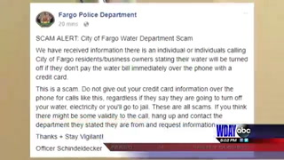 Fargo PD sends out warning of Water Department scam