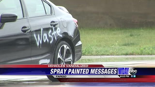 One of the vandalized cars in downtown Fargo Wednesday. WDAY photo.