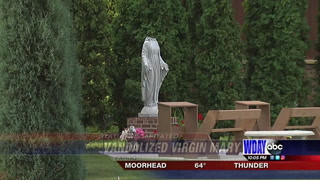 A statue of the Virgin Mary that stands outside St. Anthony of Padua Catholic Church in Fargo was vandalized sometime Tuesday night, July 31. Special to The Forum