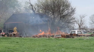 Controlled burn spreads causing structure fire east of Ethan