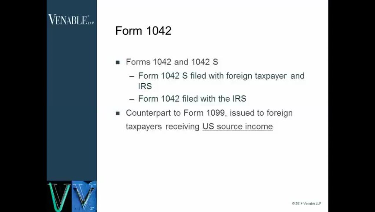 International Tax Forms - When to Use Form 1042 and 1042S — Video ...