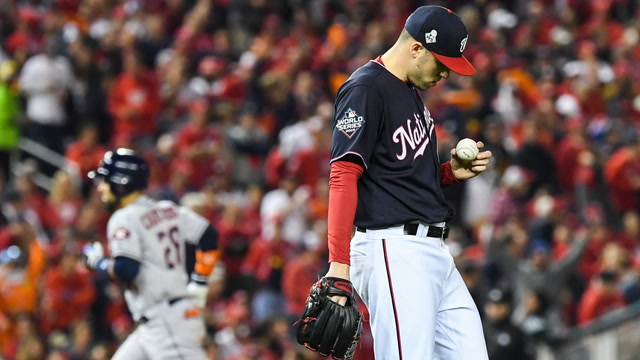 In the clubhouse, Nationals players discuss their Game 4 loss against the Astros