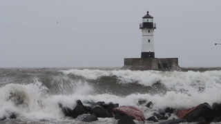 April in Duluth: Freezing rain and big waves