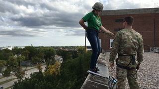 Off the wall: UND ROTC cadets rappel from old med school