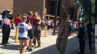 Family and Friends welcome back the 155th Engineering Co.