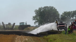 Ethan Fire Department responds to a wheat field fire