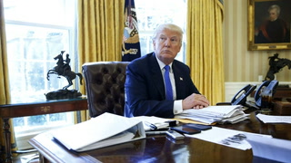 U.S. President Donald Trump sits for an interview with Reuters in the Oval Office at the White House in Washington Feb. 23, 2017. Jonathan Ernst / Reuters