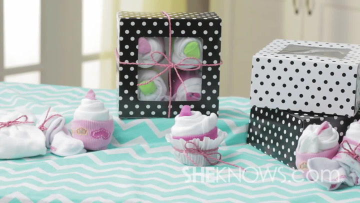 Cupcake made from onesies and socks is so cute you won't miss the frosting