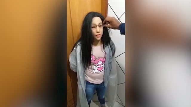 Watch the unmasking of a Brazilian drug dealer disguised as his daughter