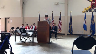Morris mayor Sheldon Giese gave the Memorial Day address at the Morris National Guard Armory on May 28, 2018.  Photo by Sue Dieter/Stevens County Times.