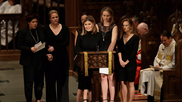 Former first lady Barbara Bush's granddaughters speak at her funeral
