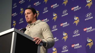 Chad Greenway address the media after VIkings final regular season game