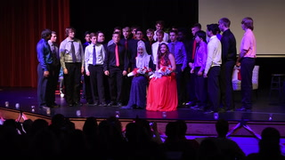 Willmar Senior High homecoming queen and princess serenaded by boys choir