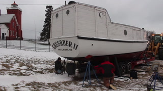 Crew moves 1939 fishing tug back to Knife River