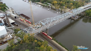 Crews work on the piers of the new Red Wing bridge Dec. 13, 2018. High water on the Mississippi River delayed the project in 2018, but project officials say the bridge will open to traffic in fall 2019 as originally planned. Michael Brun / RiverTown Multimedia