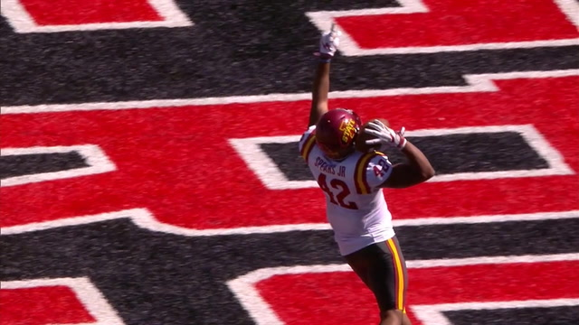 Marcel Spears takes the INT to the house giving Iowa State a 31-13 lead over Texas Tech