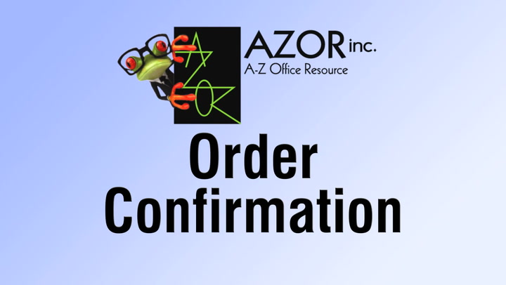 Order Confirmation for shop.AZORinc.com