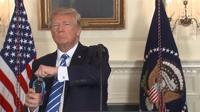 Trump interrupts announcement twice to drink water