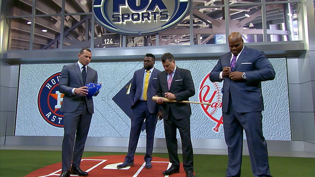 Alex Rodriguez, David Ortiz, Frank Thomas and Keith Hernandez help out a young A's fan