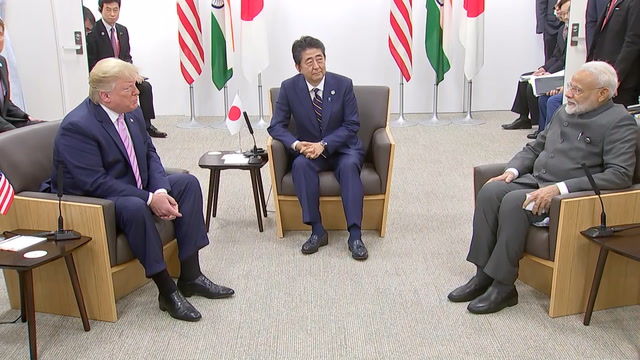 Trump meets with Abe and Modi