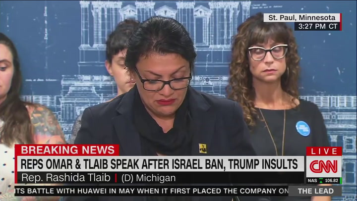 Addressing Israel ban, Rashida Tlaib tears up recalling childhood visits to West Bank