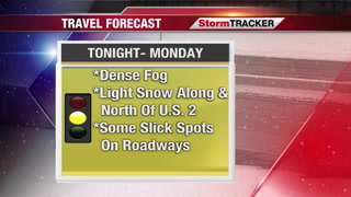 Roads may be slick Monday morning