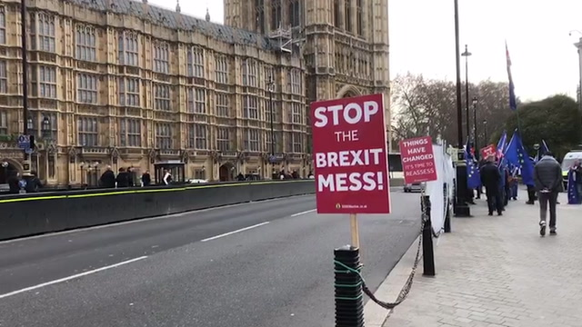 Protesters flock to Parliament ahead of Brexit vote