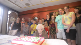 Lola with three of her four sons and one of the youngest of her 27 great grandchildren Brennan Reich.