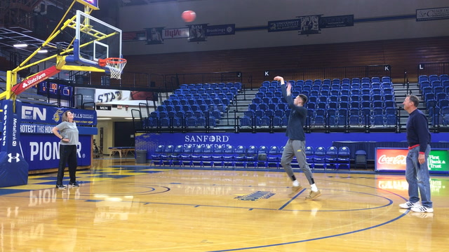 Watch Mike Daum shoot hoops with his parents