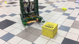 A robot tosses balls into the air before retrieving them on Monday at Jamestown High School. Robotics teams from Fargo, West Fargo and Hatton-Northwood school districts performed the demonstration. John M. Steiner / The Sun