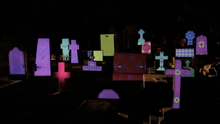 This Mexican Cemetery Becomes A Living Cartoon At Night